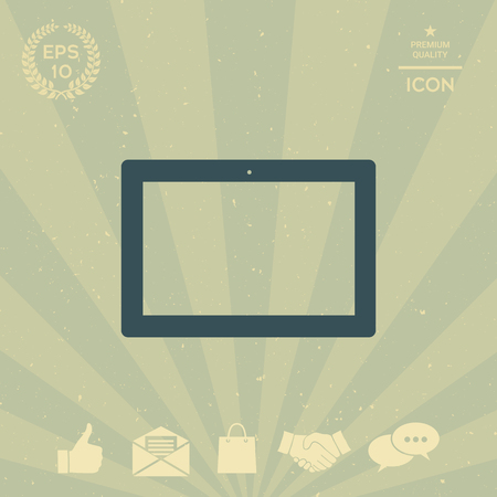 laptop screen: Computer tablet with blank screen, icon