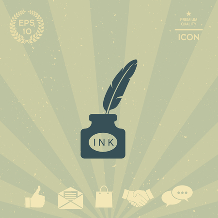 Ink bottle with feather - icon