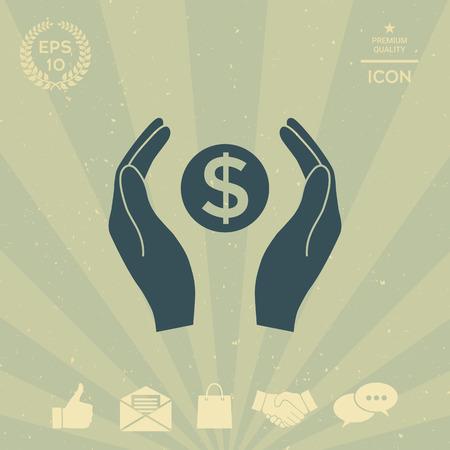 business: Hands holding money - dollar symbol