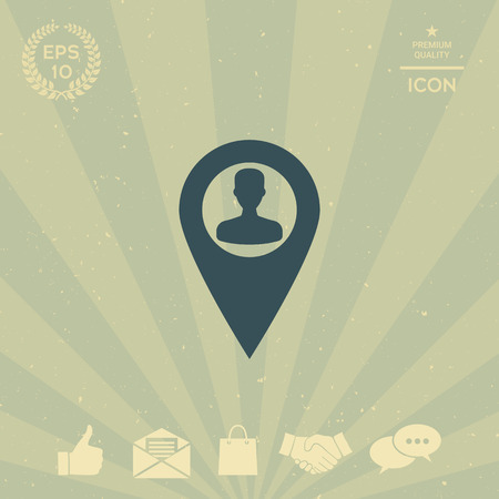 business: Map pointer with Man silhouette Illustration