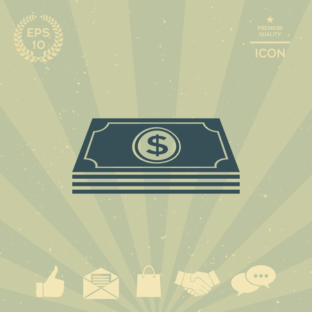 business: Money banknotes stack with dollar symbol - icon Illustration