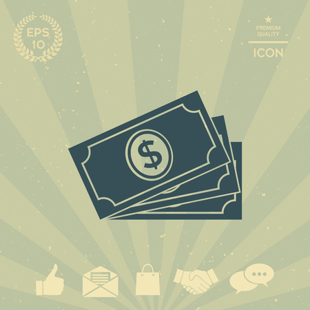business: Money banknotes stack with dollar symbol, icon