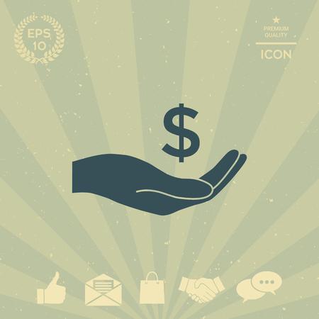 business: Money in hand, dollar symbol icon Illustration