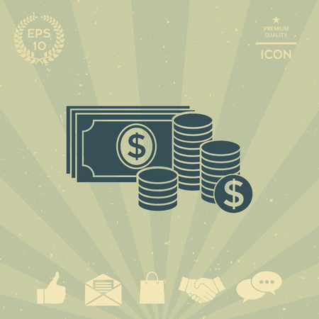 business: Money banknotes stack and Stack of coins icon with dollar symbol