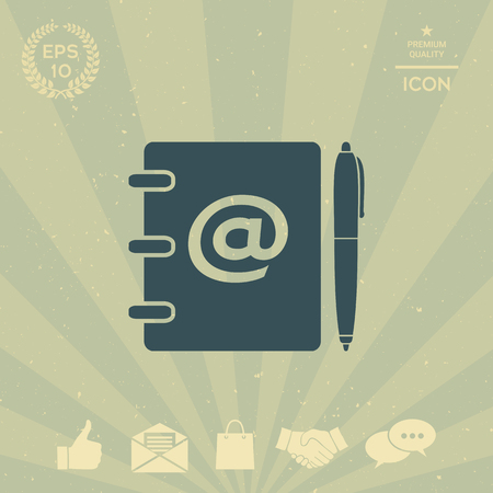 business: Notebook, address, phone book with email symbol and pen icon