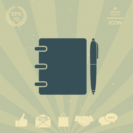 business: Notebook, address, phone book with pen symbol icon