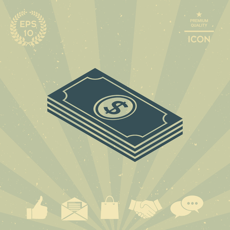 business: Money banknotes stack with dollar isometric icon