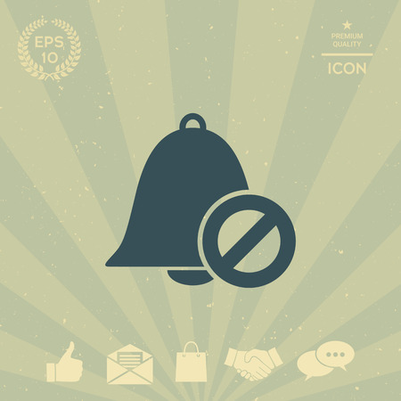 No bell icon. Prohibition sign. Stop symbol