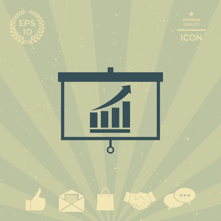 business: Projector screen with Growing bars graphic Illustration