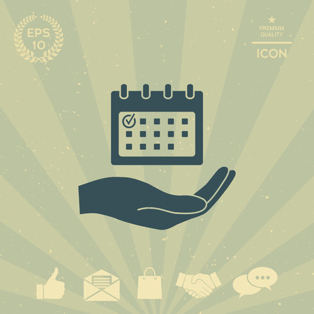 business: Planning, time management, hand holding calendar icon