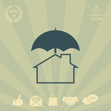 business: Security and protection icon. Home under umbrella