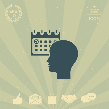 business: Planning, time management, person with calendar - icon Illustration