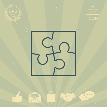 business: Puzzle line icon