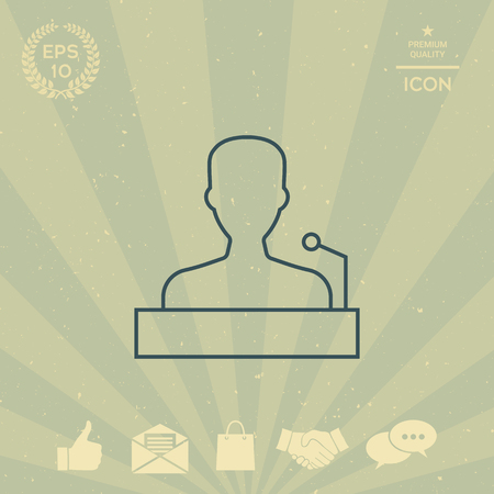 business: Speaker, orator speaking from tribune - line icon Illustration