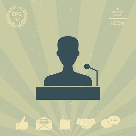 business: Speaker, orator speaking from tribune icon