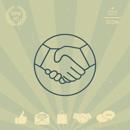 business: Symbol of handshake in circle. Line Icon
