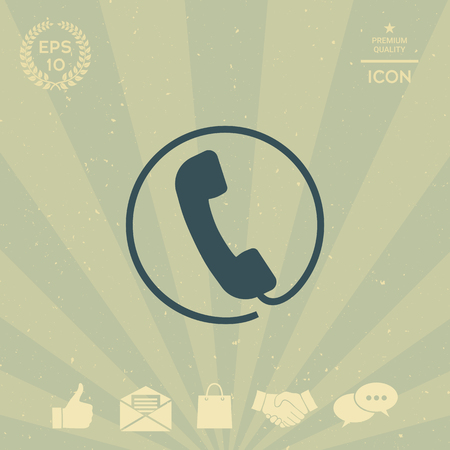 business: Telephone handset surrounded by a telephone cord - icon Illustration