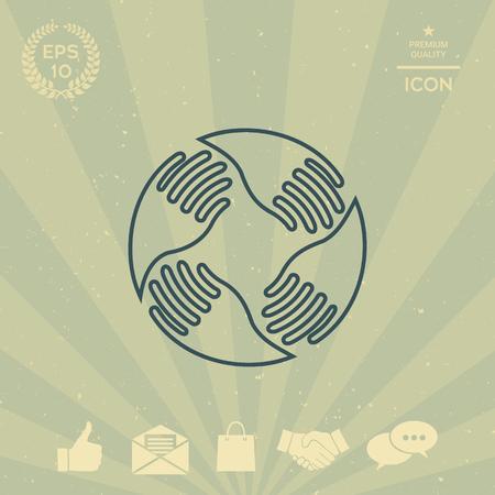 business: Teamwork Hands Logo. Human connection. Line icon Illustration
