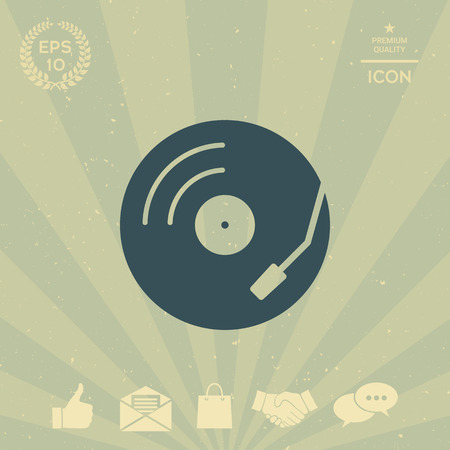 technology background: Vinyl record turntable icon