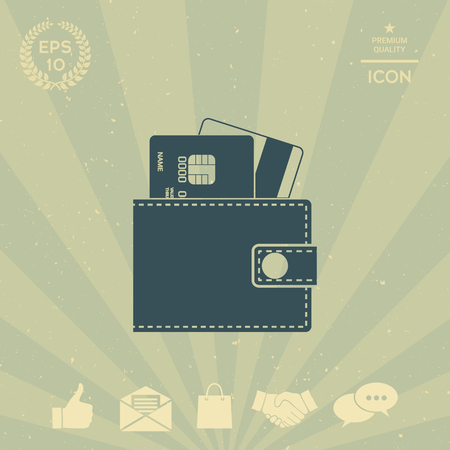 business: Wallet with credit cards inside icon