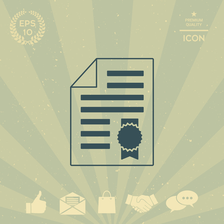 business: Warranty sheet of paper with a medal. Icon Illustration