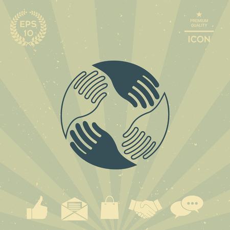 business: Teamwork Hands. Human connection Logo