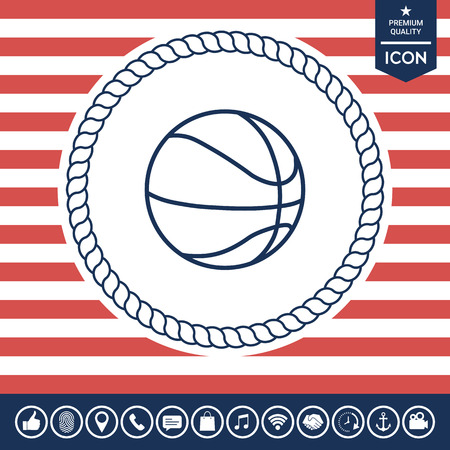 fitness equipment: Basketball ball line icon