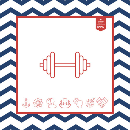 fitness equipment: Barbell line icon on white background.