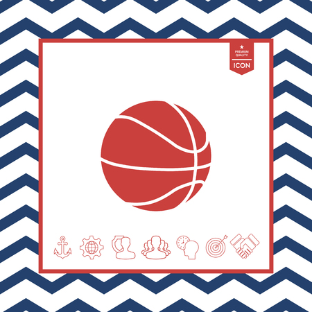 fitness equipment: Basketball ball icon on white background. Illustration