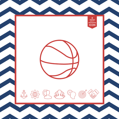 fitness equipment: Basketball ball line icon on white background.