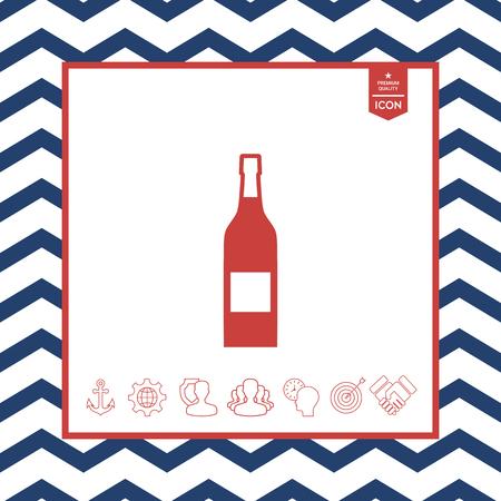 Bottle of wine icon, isolated on white