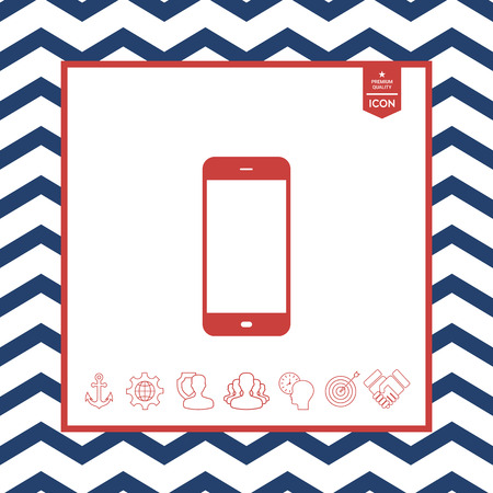 laptop screen: Business Phone with blank screen in a  line red illustration, isolated on a white square background Illustration