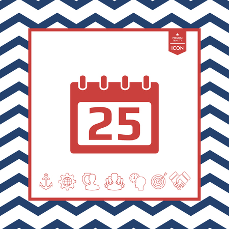 paper note: Calendar icon on zigzag lined frame Illustration