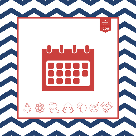 paper note: Calendar symbol icon on zigzag lined frame