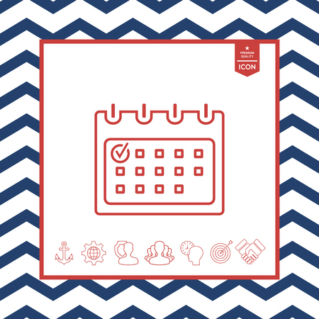paper note: Calendar with check mark icon with zigzag lined frame
