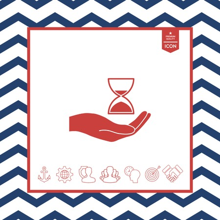 countdown: Hand holding Hourglass vector illustration