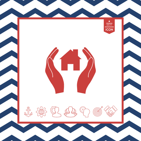 residence: Hands holding a home with zigzag border
