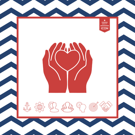 helpful: Hands holding heart protection icon symbol.