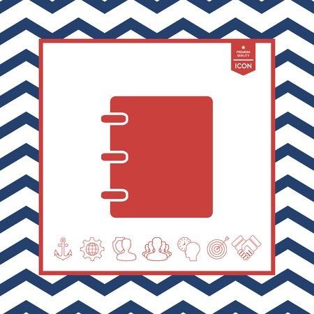 paper note: Notebook, address, phone book symbol with blank cover Illustration