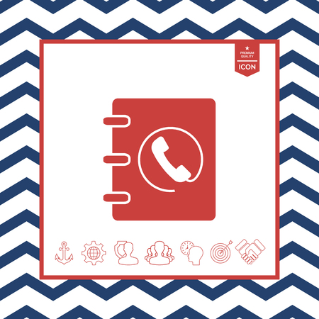 paper note: Notebook, address, phone book icon with handset symbol