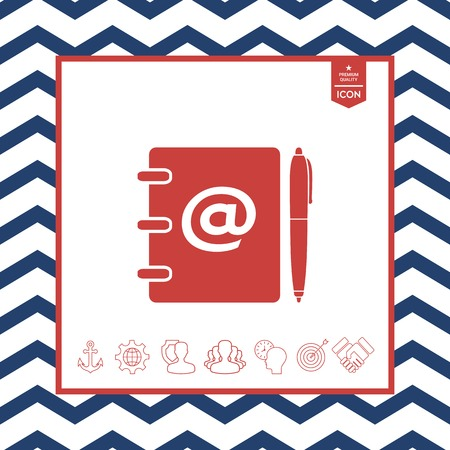 paper note: Notebook, address, phone book with email symbol and pen icon