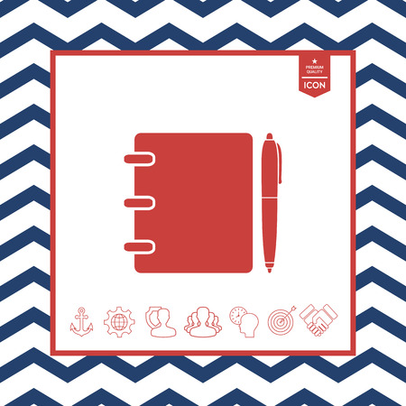 paper note: Notebook, address, phone book with pen symbol icon