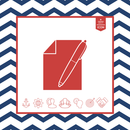 paper note: Sheet of paper and pen symbol icon