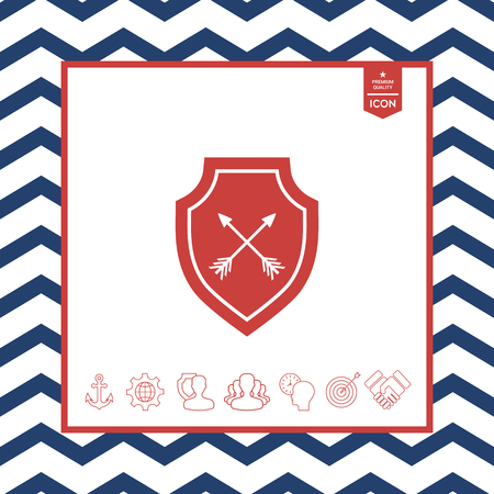 Shield with arrows. Protection icon Stock Vector - 87577311
