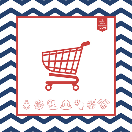 objects: Shopping cart icon, shopping basket design, trolley icon
