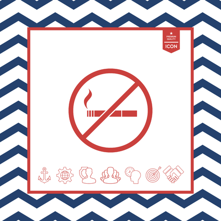 prohibiting: No smoking, smoking ban icon. Cigarette - prohibiting sign