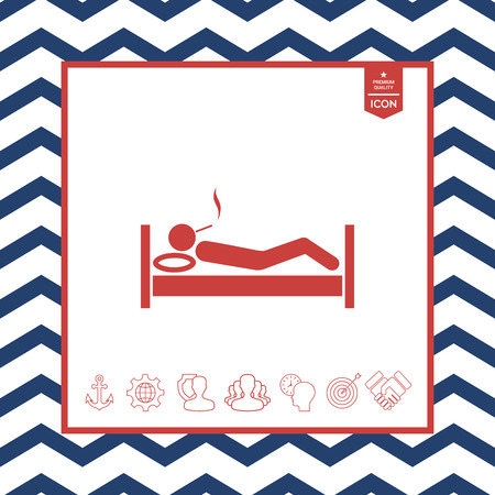 objects: Smoking in bed icon vector illustration Illustration