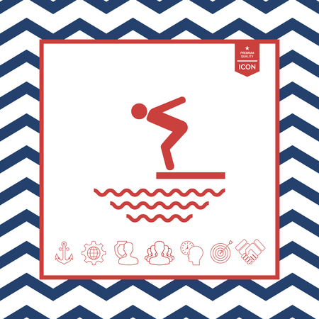 jumping into water: Swimmer on a springboard, Jumping into the water - icon
