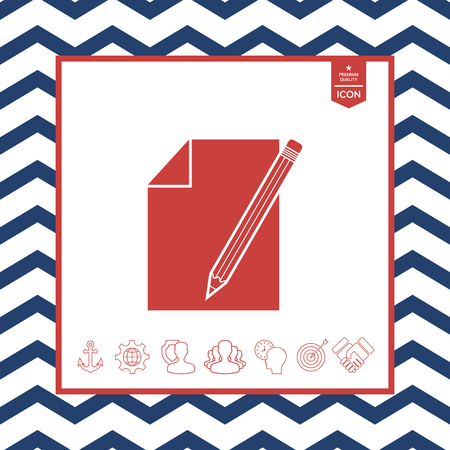 paper note: Sheet of paper and pencil symbol icon