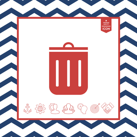objects: Red trash can icon in isolated background. Illustration